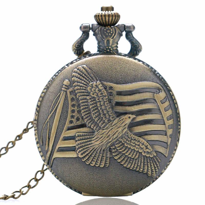 Antique Bronze MỸ Cờ Đồng Hồ Đồng Hồ cho Nam Giới Phụ Nữ Hoa Kỳ Lưu Niệm Hòa Bình Chim Bồ Câu Quarzt Đồng Hồ Bỏ Túi Vòng Cổ với Chuỗi