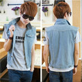 Plus Size M-3XL Summer Designer Fashion Men's Casual Denim Vest Cotton Slim Popular Outerwear Denim Coats Jackets For Men