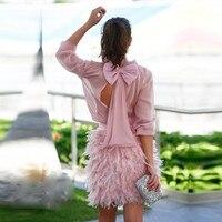 Румяна Розовый короткий халат коктейль Vestidos Де коктель по колено 2019 коктейльные платья одежда с длинным рукавом коктейльные платья