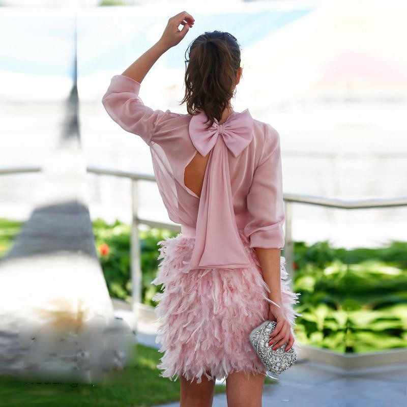 Blush Pink Short Robe   Cocktail   Vestidos De Coctel Knee Length 2019   Cocktail     Dresses   Long Sleeves   Cocktail   Gowns
