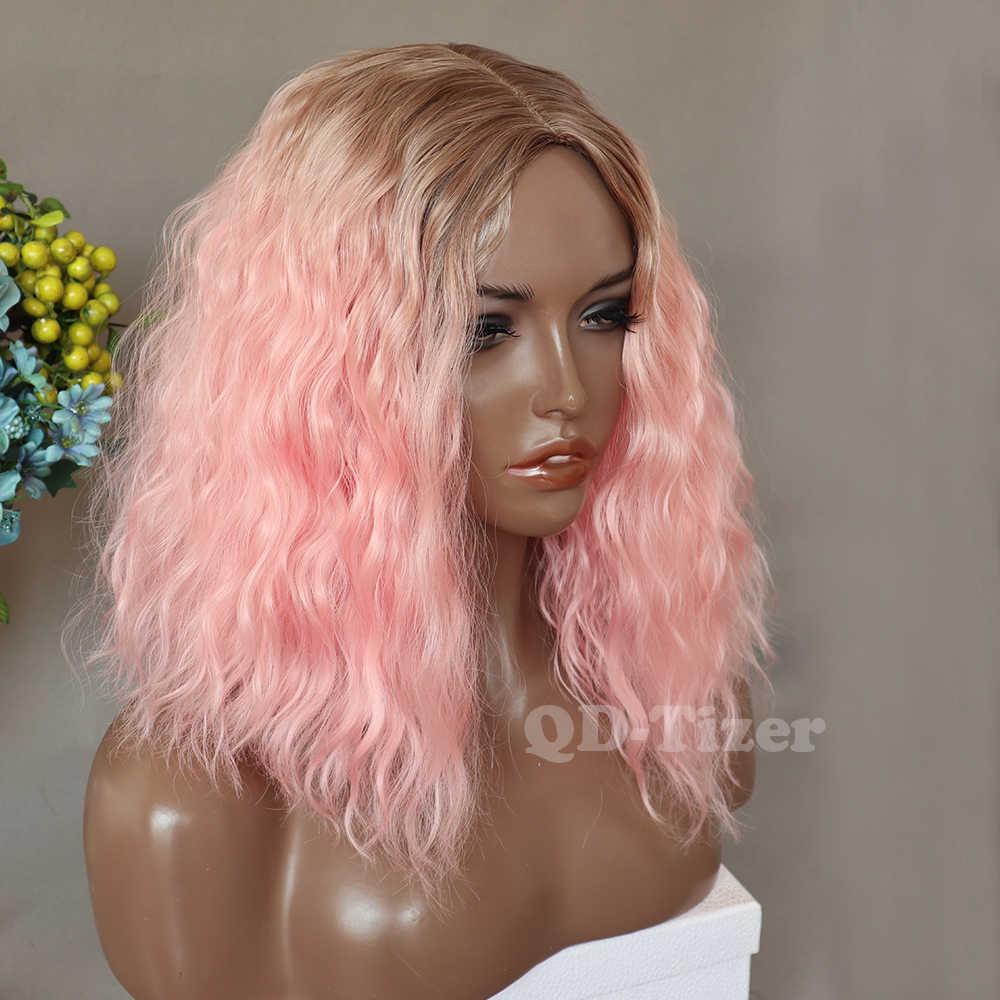 QD-Tizer Омбре розовый боб парик Свободные кудрявые синтетические Без шнурка парик бесклеевая Термостойкое волокно розовые парики для косплея для черных женщин