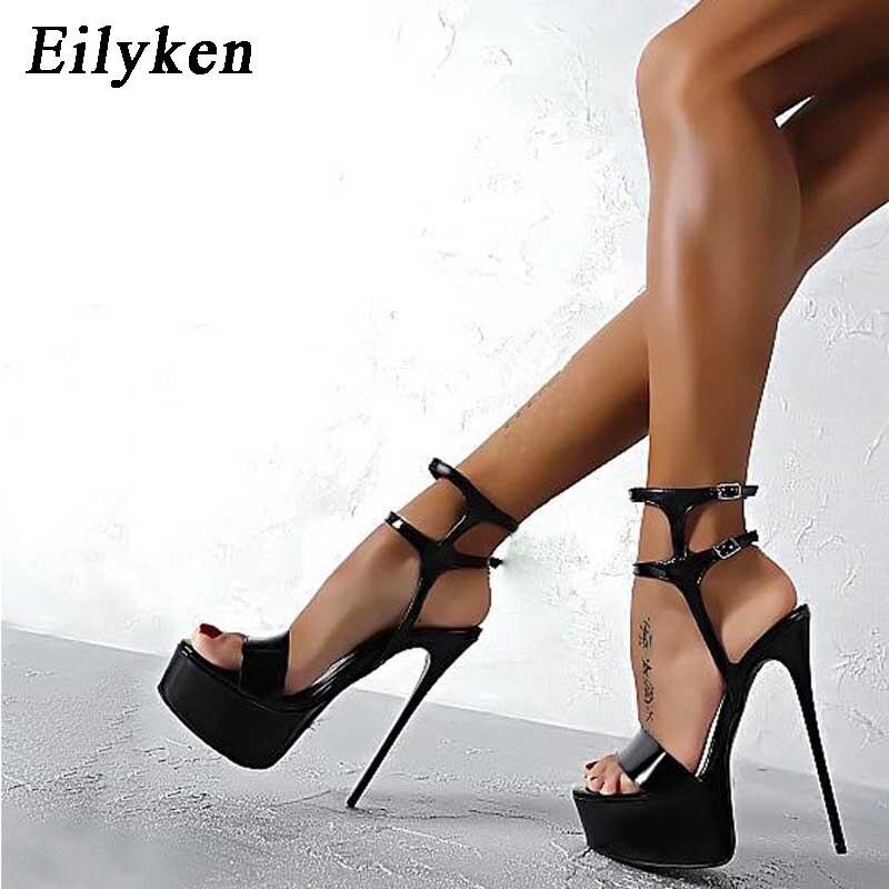Eilyken Women Sandals high heel Shoes Women Party Platform Sandals 17cm  High-Heeled Buckle Strap 53b7a360a8fa0