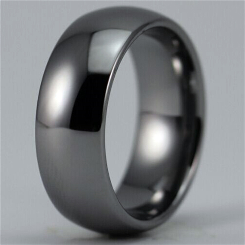 Free Shipping Hot Sales 8MM Width Shiny Silver Color Domed Custom Ring Blank Ring New Mens Fashion Tungsten Wedding Ring