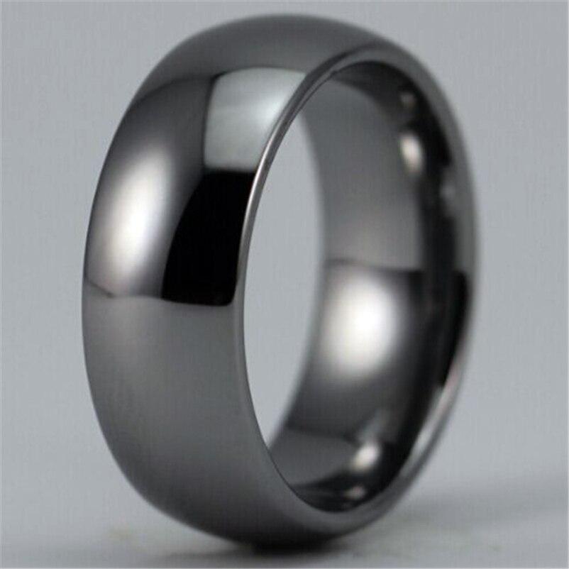Freies Verschiffen Heiße Verkäufe 8mm Breite Shiny Silber Farbe Gewölbten Nach Ring Blank Ring Neue Männer der Mode Wolfram hochzeit Ring