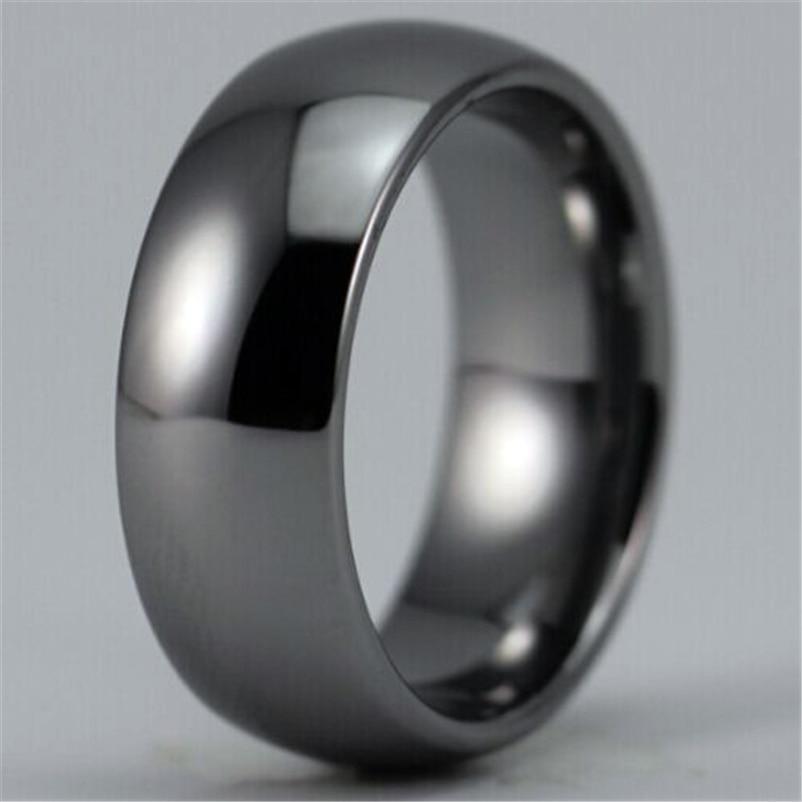 Gratis Verzending Hot Sales 8mm Breedte Glanzend Zilver Kleur Koepelvormige Custom Ring Leeg Ring Nieuwe Mannenmode Wolfraam wedding Ring