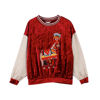 Melinda Style 2017 New Women Long Sleeves Velour T Shirt Horse Pattern Tassel Decorated Top Free