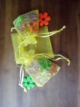 300 unids amarillo del regalo del organza bolsas 13×18 cm bolsos de fiesta para las mujeres evento casarse bolso de Lazo de Exhibición de La Joyería bolsa de Bolsa de accesorios de bricolaje