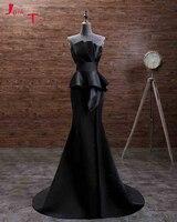 Jark Tozr индивидуальный заказ с открытыми плечами мать невесты платья для женщин 2019 черный атлас простой Vestido de Madrinha вечеринка