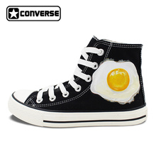 New Shoes Original Design Poached Egg Converse All Star Hand Painted High Top Canvas Sneakers Men