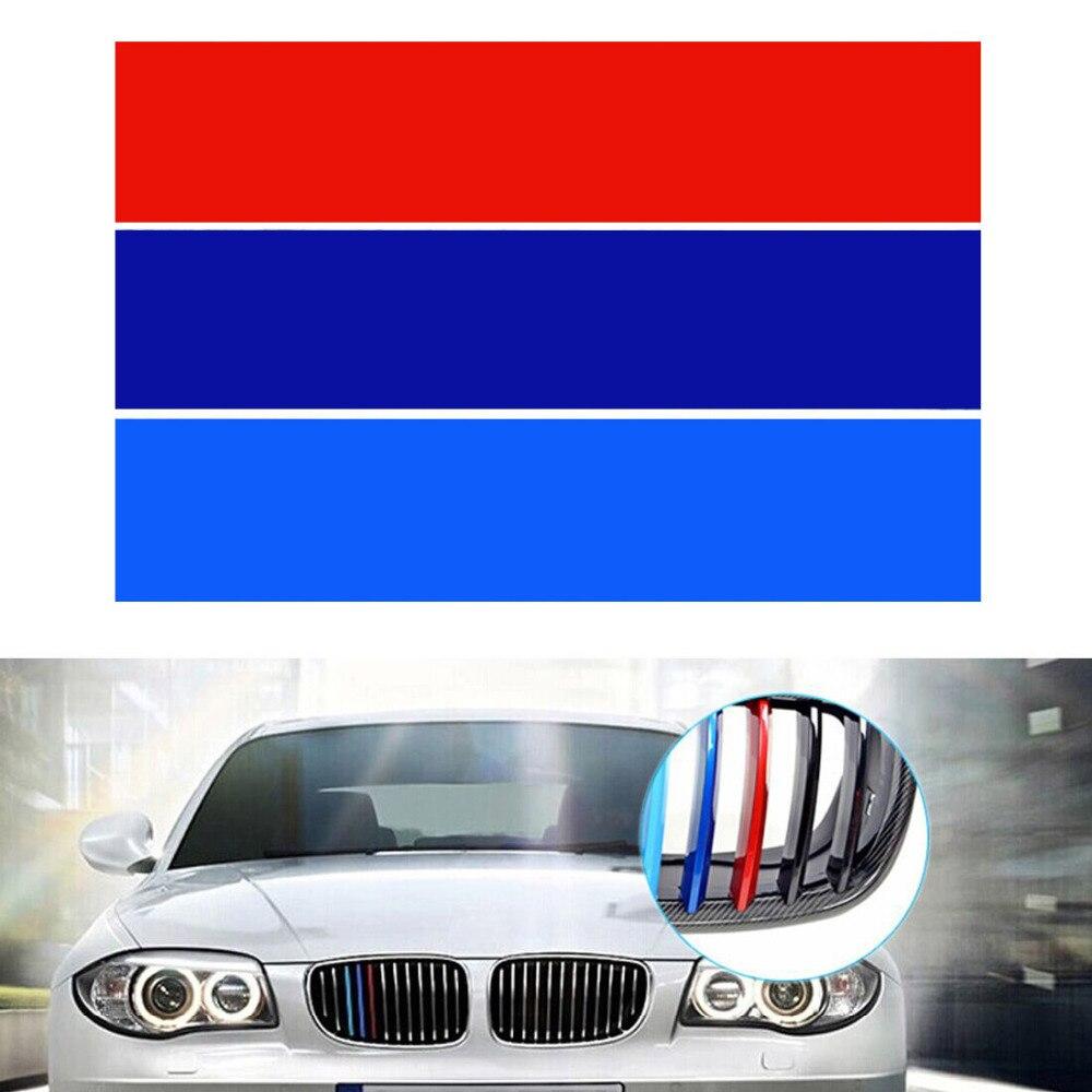 3pcs/set! Car Styling PVC Front Grill Stripes Cover Decals M power Sport Stickers for BMW M3 M5 M6 E46 E39 E60 E90