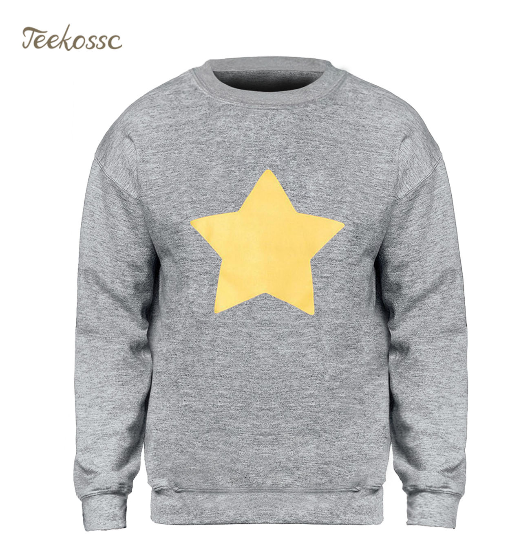 STEVEN UNIVERSE STAR COOKIE CAT Sweatshirt Men Slim Hoodie 2018 New Brand Winter Autumn Fleece Warm Yellow Star Sweatshirts Mens