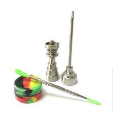 בונג כלי סט 10/14/18mm Domeles Gr2 טיטניום נייל פחמימות כובע Dabber dab rig סיליקון צנצנת עבור זכוכית בונג עישון מים צינורות 0C