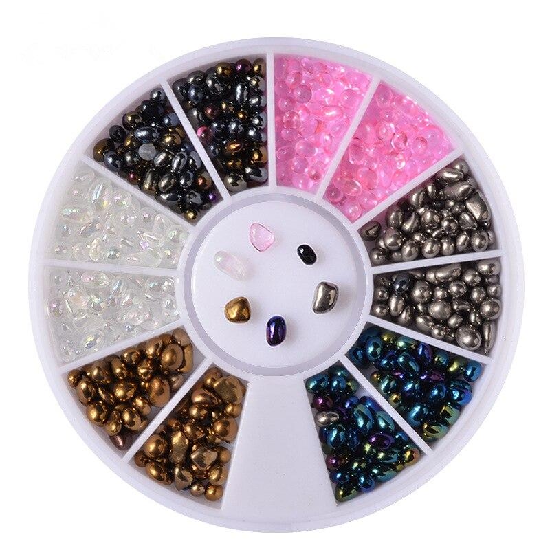 1 Box mix size 3D DIY AB colour Irregular Stone Wheel Nail Stickers Decoration Glitter Nail Art Jewelry Manicure tools
