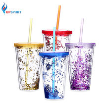 Upspirit 450ML Starry Water Bottle with Straw PC Bling Wall