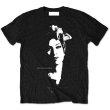 2018 Fashion Sleeve MenS Regular Short O-Neck Amy Winehouse Scarf Portrait Tee Shirt