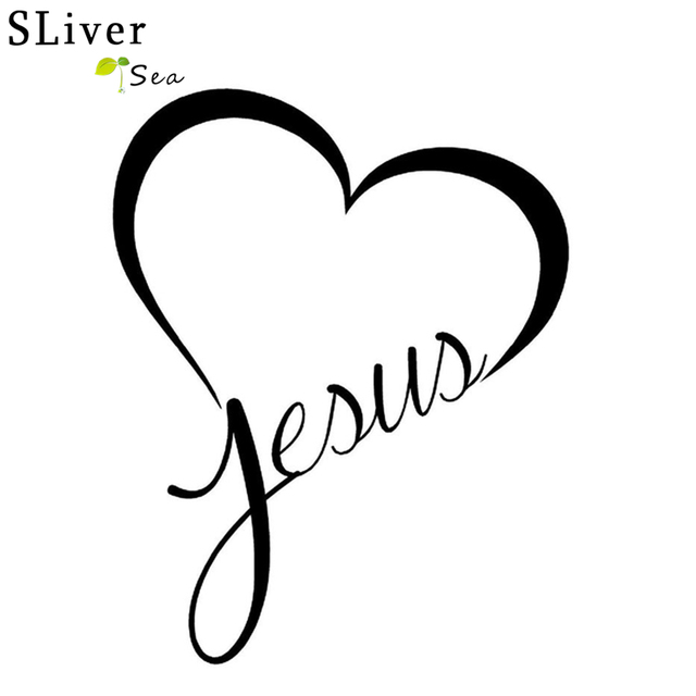 SLIVERYSEA Jesue Heart Christian Car Sticker Automobiles Window Bumper Reflective Sticker Decals Auto Decoration Accessories