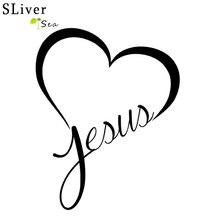 SLIVERYSEA Jesue, pegatina cristiana de corazón para coche, parachoques de ventana de automóviles, pegatina reflectante, calcomanías, accesorios de decoración de automóviles