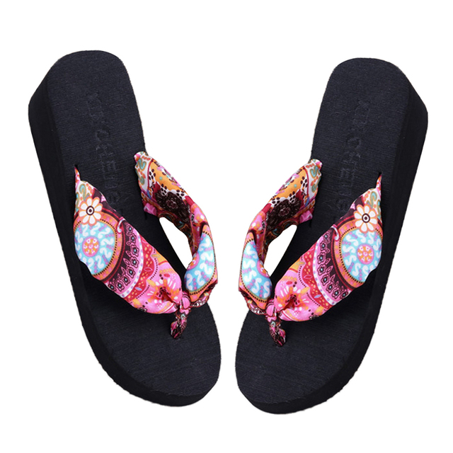 bda95fea713327 2018 New Summer Soft Women Wedge Sandals Bohemia Flip Flops Flat Platform  Slippers Beach