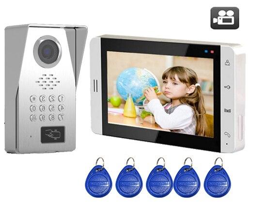 SMTVDP TFT LCD Color 7Video Door Phone Doorbell IR w/t SD Card Slot Intercom Home Security Video System FRID Camera 1V1