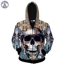 2017 Mr.1991INC Autumn fashion zipper jacket men/women 3d sweatshirt print big glasses skull hoodies with hat hooded hoody tops