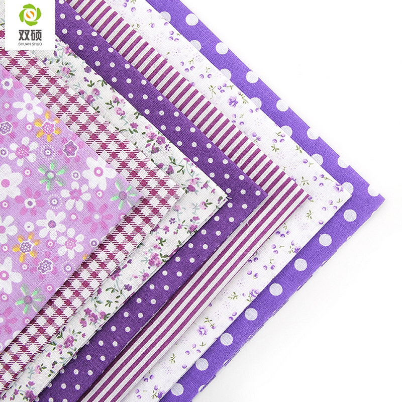 Cotton Fabric No Repeat Design Purple Series Patchwork Fabric Fat Quarters Bundle Sewing For Fabric 7pcs/lot 50x50cm A1-7-3