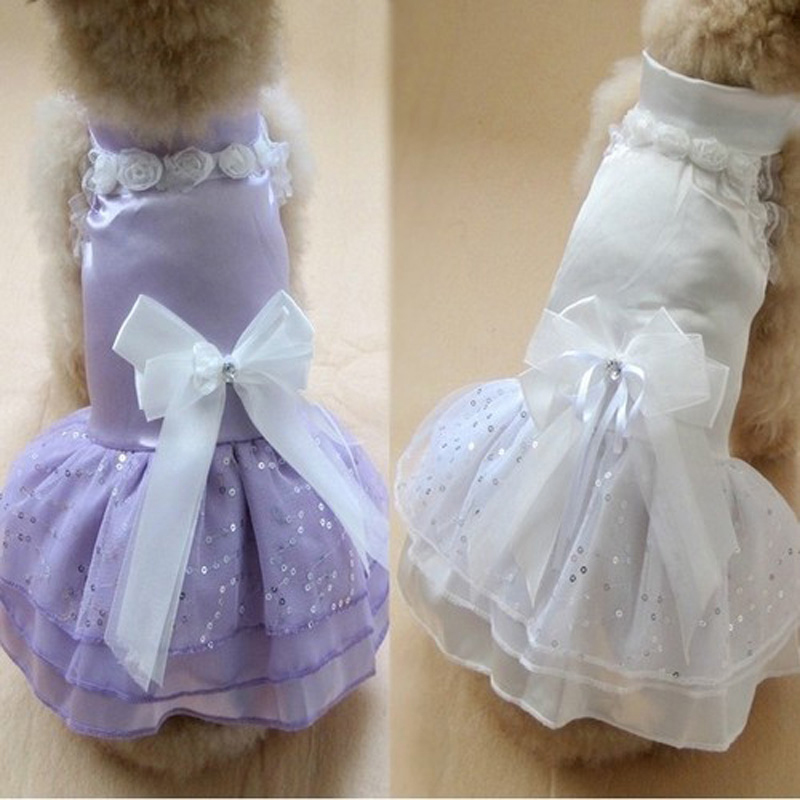 Small Dog Dress Pet Dogs Dresses In Dog Clothing Puppy Cats Princess Flower Bowknot Dress Pets Costume S/M/L Summer Dog Clothes