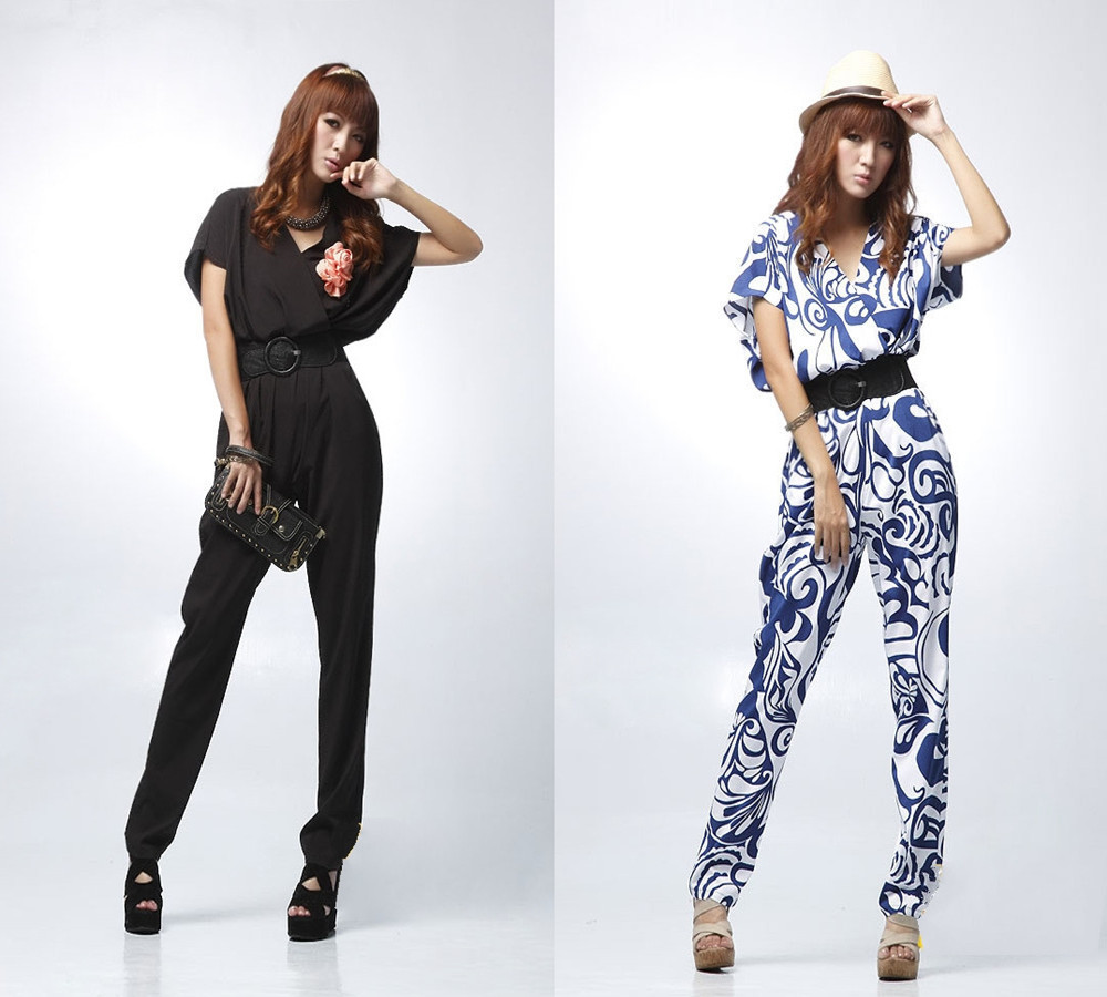 New European Style Women Fashion Slim Retro Blue And White Porcelain Romper Jumpsuits With Belt