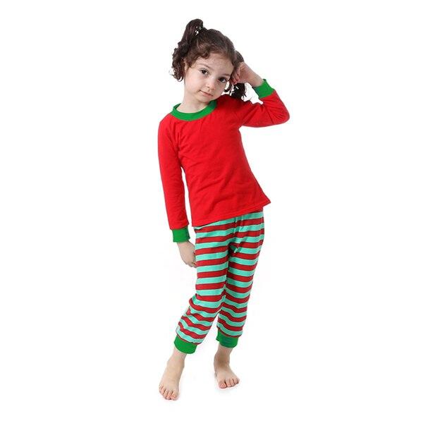 Kaiya Angel Christmas Girls Boutique Outfits Christmas Clothing Set Red Green Green Stripe Shirt Leggings Suit 2 Pcs Pajamas 7