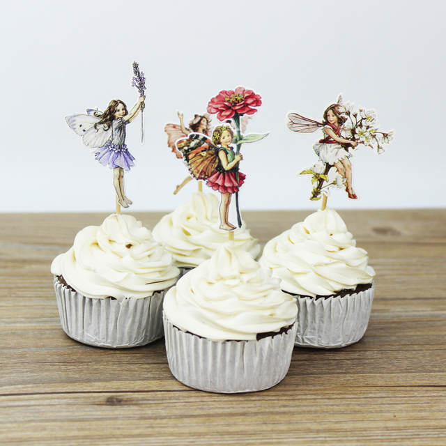 24pcs flower fairy cupcake toppers picks for birthday for New home cupcake decorations