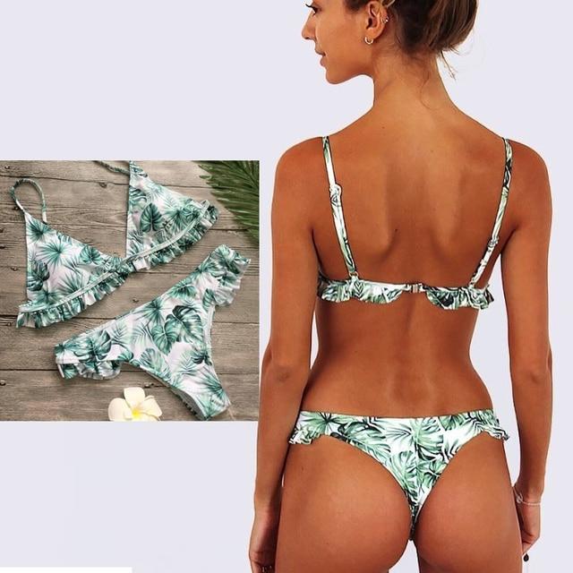 ladies' swimwear ruffle bikini women push up brazilian bikini bottoms  swimsuit girls womens beachwear biquini feminino