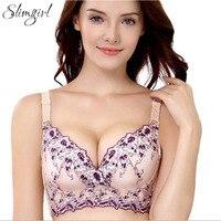 Slimgril Phụ Nữ Sexy Ren Áo Ngực của Hoa Thêu Đẩy điều chỉnh 3/4 A B Cd Cup Bra Nữ Lớn Kích Thước Đồ Lót 32 34 36 38 90
