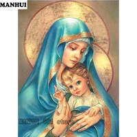 Full Square Diamond 5D DIY Diamond Painting Religious Mother Child Embroidery Cross Stitch Mosaic Painting Decoration