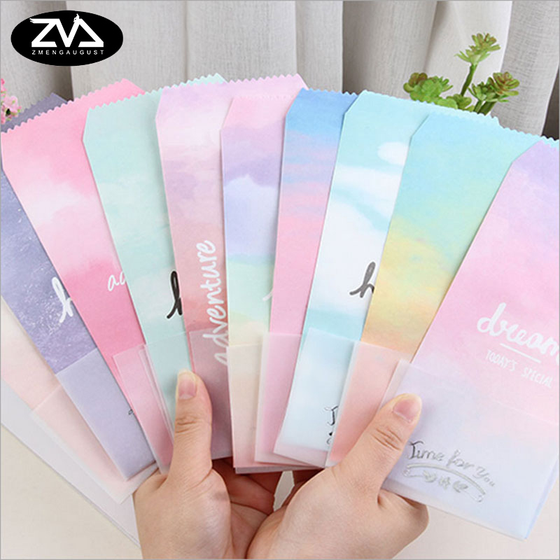 5pcs/lot Watercolor Gradient Envelope Letterhead Office Stationery Writing Paper Stationery Kawaii Birthday Envelopes Gift