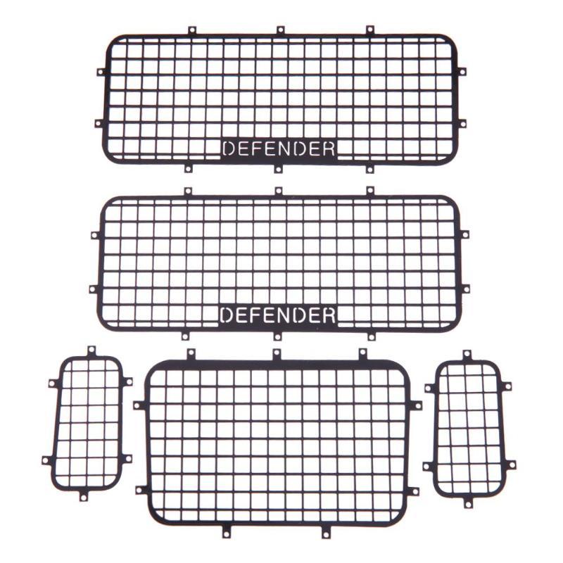 5 piezas de ventana de Metal de malla de red de protección para 1/10 RC Crawler coche Traxxas TRX-4 práctica RC coches accesorios de juguete