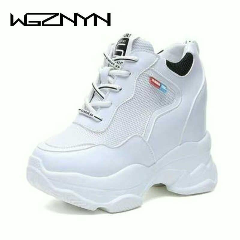 61936a63e Новая модная обувь; весенне Для женщин кроссовки дышащие сетчатые туфли на  платформе; Туфли-танкетки на высоком каблуке 11 см, повседневная ж.