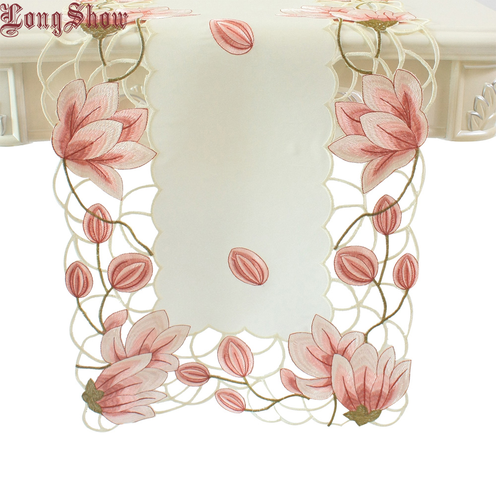 2019 Newest Design Luxury Wedding Party Decorative Pink Yellow Colour Handmade Satin Cutwork Embroidered Table Runner
