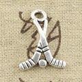 99 Centavos 12 pcs clube de hóquei Encantos 16*23mm Antigo pingente fit pulseira DIY colar de Prata Tibetano Do Vintage