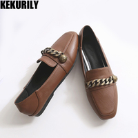 Woman shoes flats Loafers metal chain Slip on Sandals square toe sandals shallow Comfortable slides big size black green brown