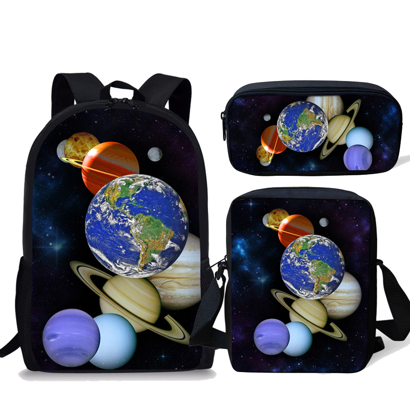 INSTANTART Universe Planet Printed 3pcs Set School Bag Bagpack Moddle Student School Backpack Kids Satchel Large Rucksack Men
