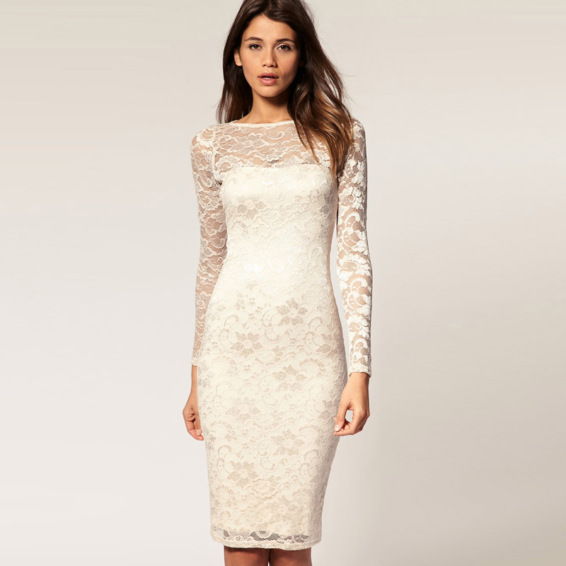 Fashion 2017 Bride Wedding Full Lace Long Sleeve Dress Beautiful Pencil Skirt One Piece Slim Racerback In Dresses From Women S Clothing Accessories
