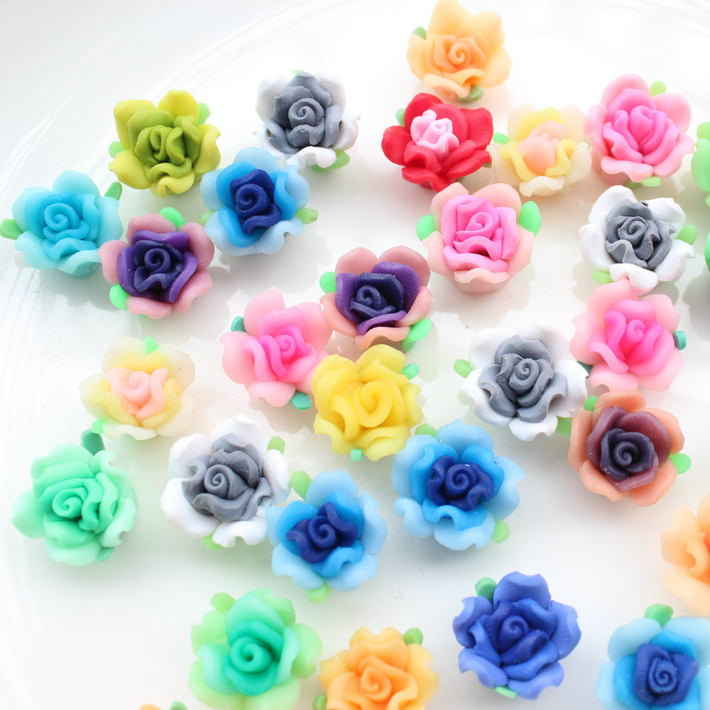 120pcs Mix Color Medium 15mm Polymer Clay Handmade Rose Flower