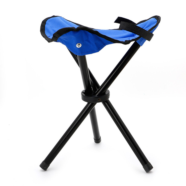 3 legged chair silver crushed velvet dining covers folding stool fishing hiking portable pocket tripod seat legs steel blue w20