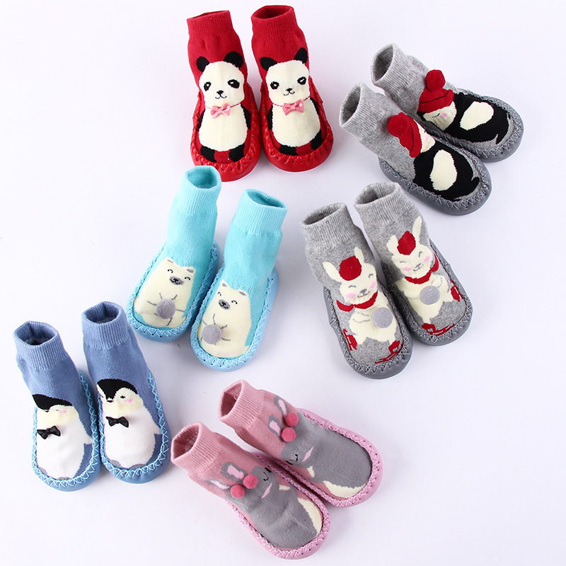 Winter Baby Toddler Non-Slip Booties Floor Shoes Socks with Rubber Moccasins Slippers Warm Long Baby Socks Baby Shoes DS9
