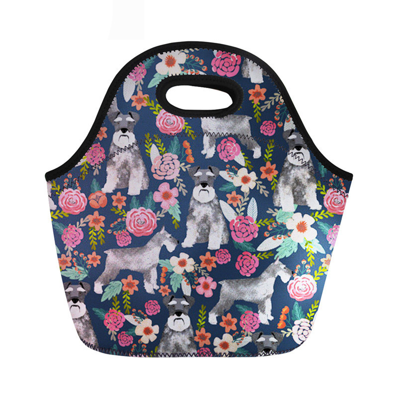 Schnauzer Lunch Bag Thermal School Cooler Warm Handbag For Kids Girls Neoprene Insulated Thermal Picnic Food Bags Female