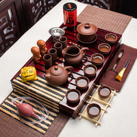 Tea set yixing kung fu tea set solid wood tea tray teapot ceramic tea sets high quality cup