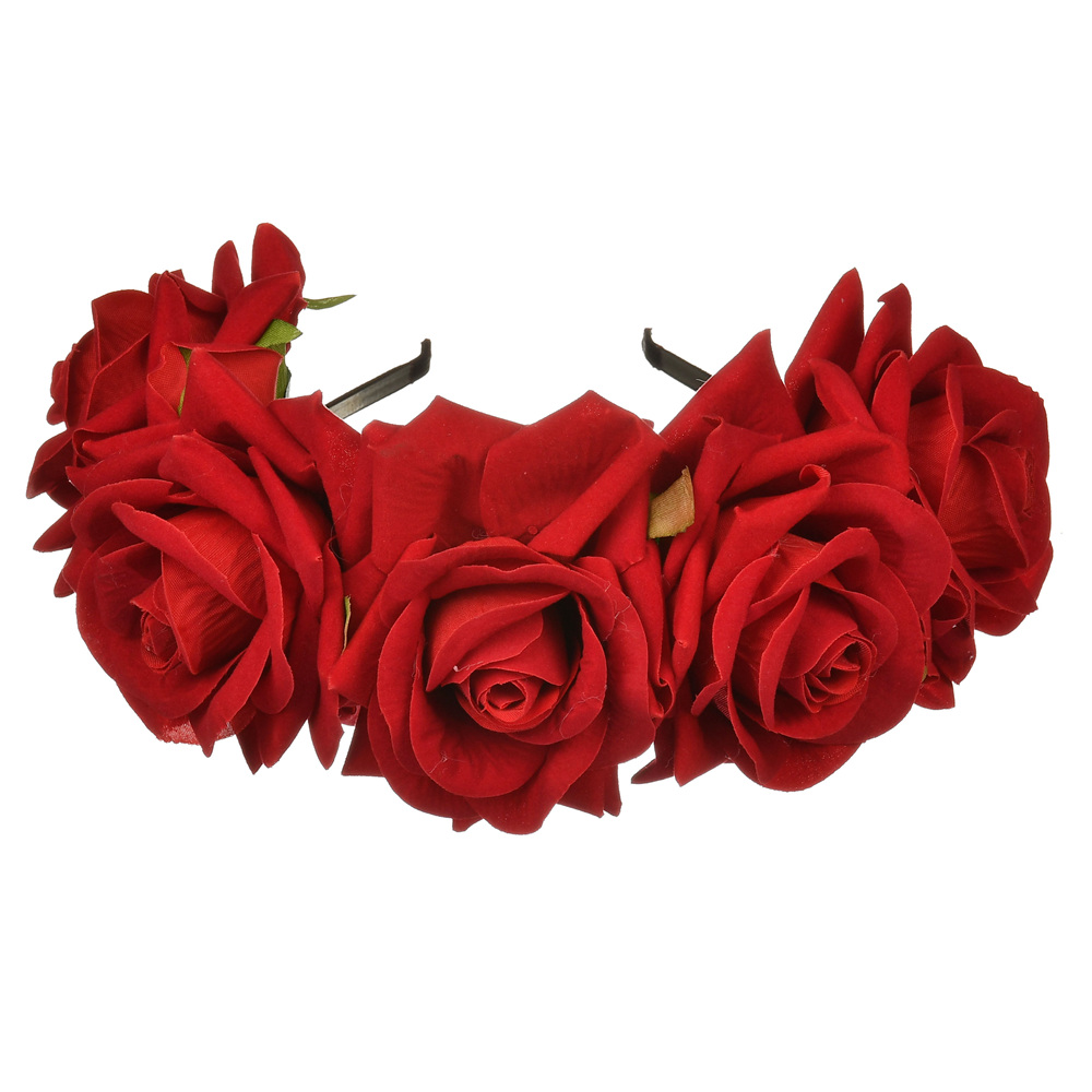 Gorgeous Bohemia Red Big Rose Flower Head Headband Floral Hairband Crown Headress For Adults Sell