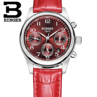 Genuine Switzerland BINGER Brand Women leather belt waterproof dress watch fashion female form red calendar watch free shipping