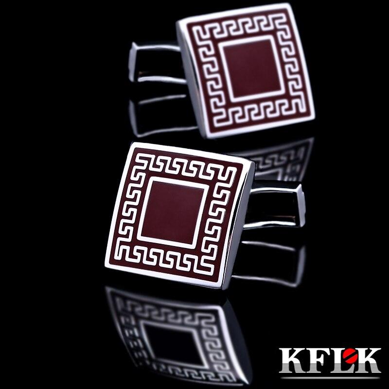 d852c54021ca6 Mancuernas calientes de la camisa de kflk para el mens retro cuadrado  gemelos rojo de la alta calidad joyería del abotoaduras