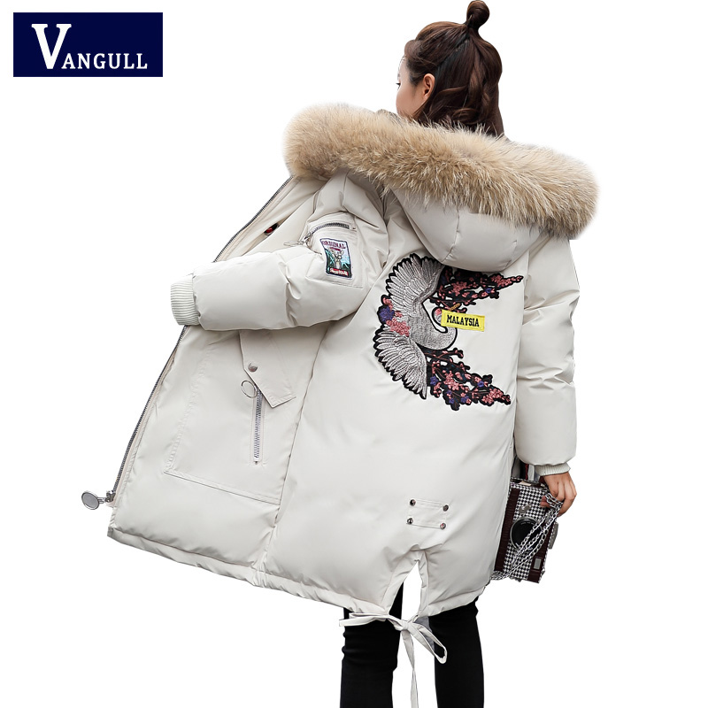 Winter Coats Jackets Women Crane Bird Embroidery Fur Hooded Jacket Pockets Coat Female   Parka   Fashion Autumn Outwear 2018 New