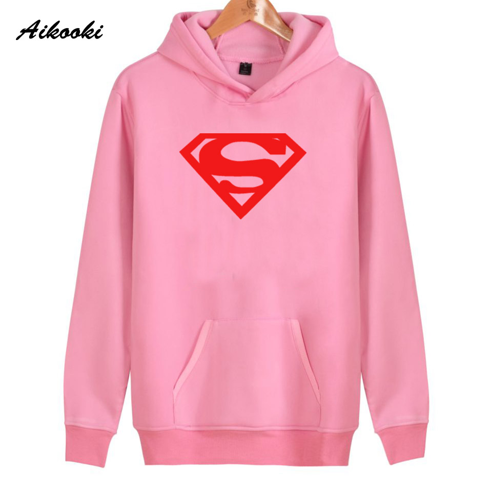 2018 Superman Hoodies Women/Men Fashion Red Beautiful Cotton Harajuku Superman Womens Hoodies and Sweatshirt Casual Clothes